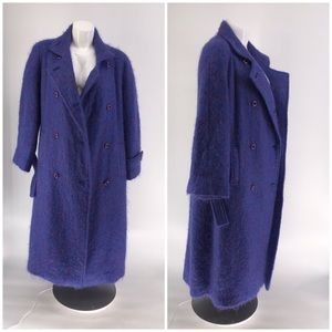 AVOCA HANDWEAVERS COAT Peacoat Button Blue Long M